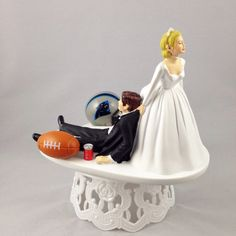 Wedding - Funny Wedding Cake Topper Football Themed Carolina Panthers Unique and Humorous Cake Toppers -