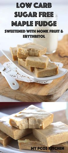 Low Carb Sugar Free Maple Fudge - My PCOS Kitchen - A traditional soft and creamy maple fudge made without sugar! #lowcarb #maplefudge #sucrealacreme #sugarfree #maplesyrup #keto  via @mypcoskitchen