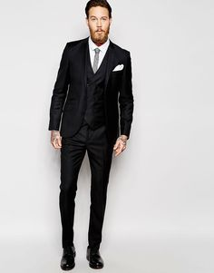 Image 1 of ASOS Slim Fit Suit In 100% Wool in Black