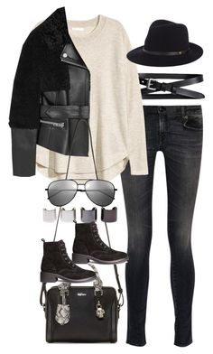 """Inspired outfit with a leather jacket"" by pagesbyhayley ❤ liked on Polyvore featuring Banana Republic, R13, H&M, Burberry, rag & bone, Alexander McQueen, Luv Aj and Yves Saint Laurent"