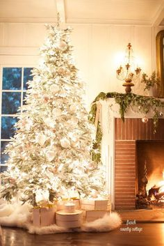 Merry & Bright Christmas at night home tour - FRENCH COUNTRY COTTAGE