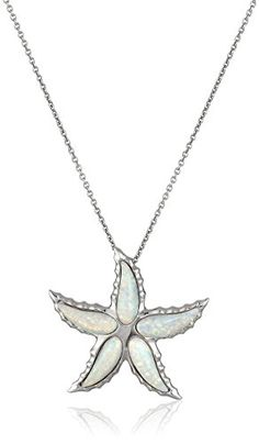 Sterling Silver Special Cut Created Opal Starfish Pendant Necklace, 18″ #deals