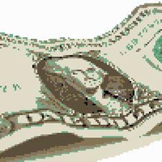 pixel art One Dollar assassin washington creed bill dollar flag one american green america obama by Masto91 piq