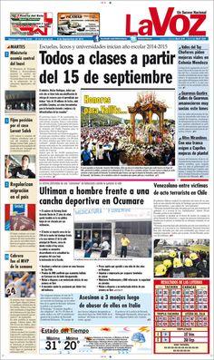 #Portadas #Nacionales #Regionales #PrimeraPagina #Titulares #Noticias #DesayunoInformativo #Martes 09/09/2014 @ElDiarioLaVoz
