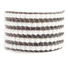 Chan Luu White Pearl Wrap Bracelet on Natural Grey Leather