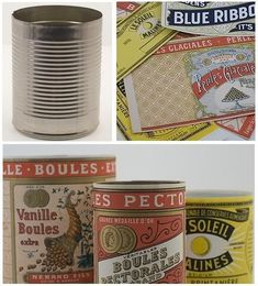 old considering plain cans with free printables of old time labels decoupaged on