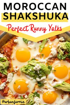 Moroccan poached eggs in a spicy tomato base, with parsley, avocados and crumbly cheese. Cut into runny yolks for a perfect, easy, quick weeknight dinner! Vegetarian Brunch Recipes, Veggie Recipes, Veggie Food, Dinner Recipes, Breakfast Casserole Easy, Savory Breakfast, Breakfast Recipes, Quick Weeknight Dinners, Easy Meals