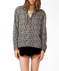 Great, subtle print to insert personality into a basic suit! High-Low Geo Print Button Up, $22.80 #Forever21