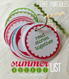 Summer Bucket list...easy and fun way to keep your list together!!  Free printables included!  {simplykierste.com}