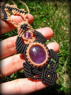 画像1: アメジストのマクラメ編みネックレス*紫水晶*ハンドメイド*アメシスト*天然石