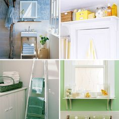 Extra bathroom storage ideas for our TINY bathroom. I really like the shelf above the door.