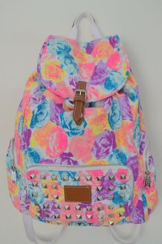 13f182411a Victoria s Secret PINK Backpack Bling Studded Floral Canvas School Handbag Backpack  Book Bag Tote-Sold Out