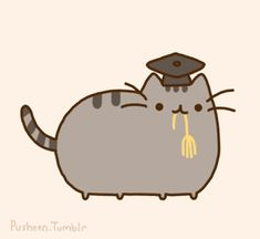 Pusheen the cat is a graduate wearing his black cap and tassel in his mouth! :) Aw! <3