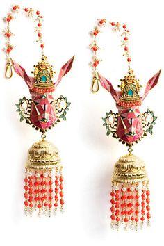 Manish Arora @Amrapali Satpudke Satpudke Jewels collection Gazelle enamel earrings with jhumki drops (31,000 INR).