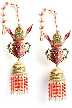 Manish Arora Amrapali collection Gazelle enamel earrings with jhumki drops (31,000 INR).