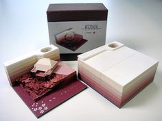 Omoshiro Block: A Paper Memo Pad That Excavates Objects as It Gets Used | Colossal