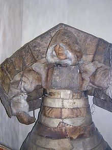 Laminar armour from hardened leather reinforced by wood and bones worn by native Siberians and Eskimos
