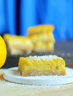 """Healthy Lemon Squares!! by Chocolate Covered Katie. My roommate, who is obsessed with lemon desserts, took one bite and declared these """"the best lemon bars on the face of the planet, healthy or not."""""""