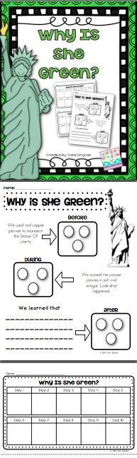 Statue of Liberty Science Experiment...find out why she is green!! $1.50
