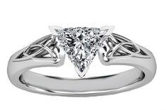 Trillion Diamond Triquetra Celtic Engagement Ring in 14K White Gold