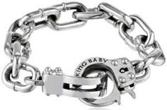 #Jewelry #MensBracelets King Baby Large Handcuff Clasp Silver Bracelet