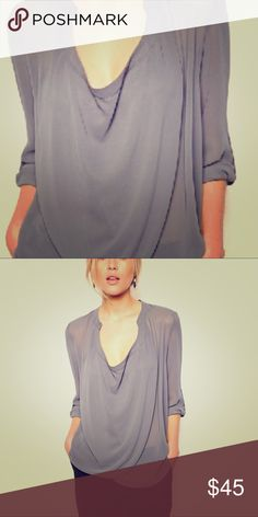 ASOS Top with Detail Front and Drape Neck Elegant sheer waterfall blouse, adjustable sleeves either 3/4 or long sleeve. ASOS Tops Blouses