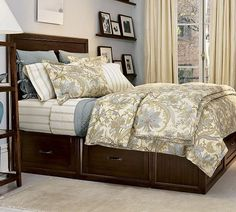 I want this bed! Stratton Bed with Drawers - Pottery Barn. Drawers add more storage without taking up more space! Bedroom Sets, Home Bedroom, Bedroom Furniture, Bedroom Decor, Master Bedroom, Bedding Sets, Furniture Ideas, Clean Bedroom, Kid Bedrooms