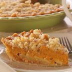 Pumpkin Dutch Apple Pie - A layer of crisp, crunchy apples topped with creamy pumpkin sprinkled with a crumble topping is just what the doctor ordered for those suffering from pumpkin-apple deficiency. Serve with a generous smile and slices of sharp cheddar.