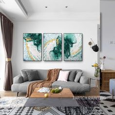 Set of 3 Hand Painting Modern Abstract Green Gold White   Etsy Abstract Tree Painting, Large Painting, Abstract Canvas, Painting Frames, Acrylic Paintings, Large Framed Wall Art, Large Art Prints, Frames On Wall, Living Room Pictures