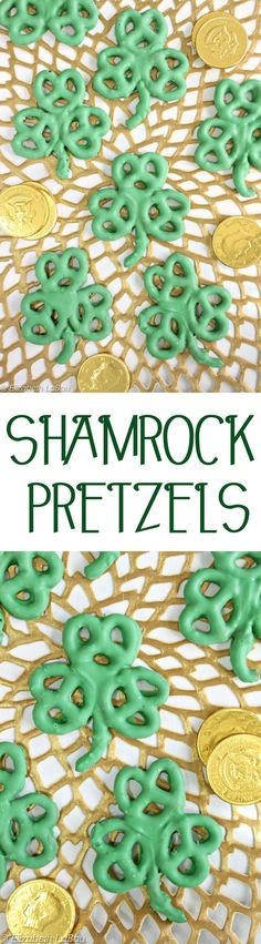 Shamrock Pretzels are a super easy St. Patrick's Day candy! Just 2 ingredients and 10 minutes to make these cute treats--and they're great for kids to help with, too! | From http://candy.about.com (Easy Candy Cake)