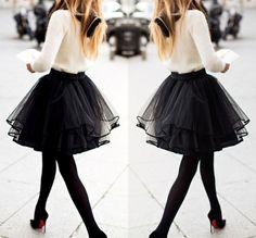 Black Plain Pleated Tiered Ribbon Lining The Edge Party Tulle Chiffon Tutu Mini Skirt - Skirts - Bottoms
