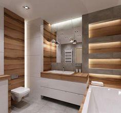 Fancy indirekte Beleuchtung und Hochglanz Oberfl chen im kleinen Bad