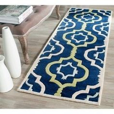 Safavieh Handmade Chatham Filomena Modern Wool Rug x Runner - Dark Blue/Multi) Wool Area Rugs, Beige Area Rugs, Wool Rugs, Blue Carpet, Blue Abstract, Rug Size, Size 2, Navy Blue Area Rug, Outdoor Rugs