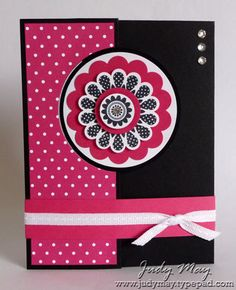 Hi there I have been playing with the Stampin' Up! Circle Card thinlits die that makes the creation of 'flip' cards a lot easier. I find the basic card cut with the thinlits die a bit skimpy when it c
