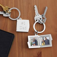 He can take his most cherished photos of you everywhere he goes inside our handsome locket-style keychain.