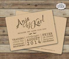 """Einladungskarte """"Typo Love"""" von KunstStück auf DaWanda.com"""