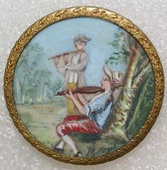 1850s French ivory & glass painted button.