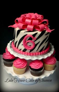 Hot Pink Black White Zebra Print Loopy Bow Cupcake Tower Lake House Cake by Shannon Luxury Wedding Cake, Wedding Cakes, Pink Black, Hot Pink, Bow Cupcakes, House Cake, White Zebra, Party Cakes, Zebra Print