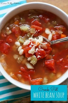 Crock Pot White Bean Soup starts with dry beans, so it's an economical and delicious way to serve a crowd (leave out the optional Parmesan)