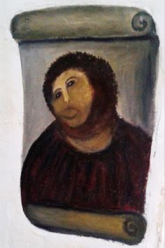 After: The amateur restoration doesn't look much like Jesus