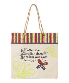 Love this 'Became a Butterfly' Canvas Tote by Jozie B on #zulily! #zulilyfinds