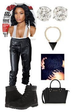 """Rolling Stones"" by alaysiaaaaaa ❤ liked on Polyvore featuring Nicki Minaj, Timberland and MICHAEL Michael Kors"