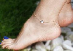 Mystic  Evil Eye Bead - Gold Chain Anklet - Anklet, anklet bracelet, gold ankle bracelet, summer jewelry, Gold Tone Anklet, Gift under 20 on Etsy, $18.00
