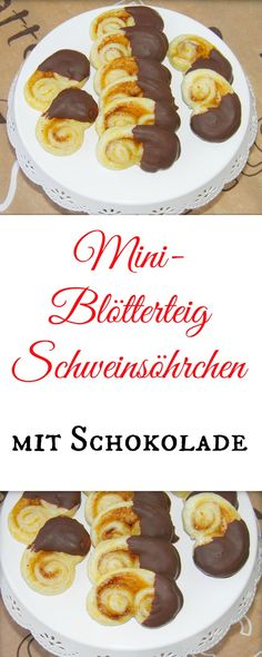 Mini-Schweinsöhrchen mit Schokolade Do you get water in your mouth at the sight of these mini pig's Mini Desserts, Vegan Desserts, Cookies Decorados, Party Food And Drinks, Breakfast Dessert, Mini Muffins, Desert Recipes, No Bake Cake, Finger Foods