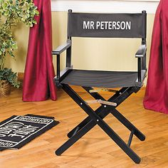 Take center stage with this chair that stars you! This director's chair is a perfect gift for the film or play director in your life. Or use it as a ...
