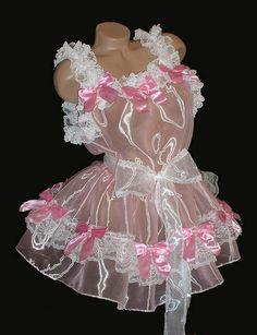Pink Totally Sheer Slip Dress w/ Bows