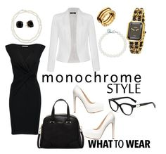 """Monochrome Style - What to Wear"" by makesmefashionable on Polyvore featuring Chico's, Tiffany & Co., Maje, Ally Fashion, Furla, Charlotte Russe, Chanel, Bulgari, Kate Spade and monochrome"