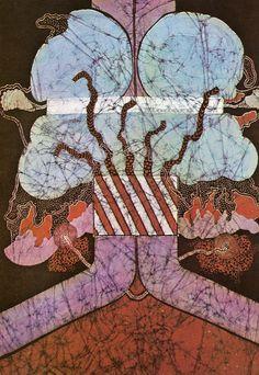 mid century modern textile art batik noel dyrenforth don't talk
