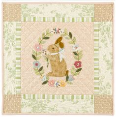 """Beautiful """"Garden Bunny"""" by Bunny Hill Designs, use as quilt center or block for quilt."""