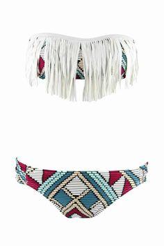 Aztec print bikini with fringe on the top